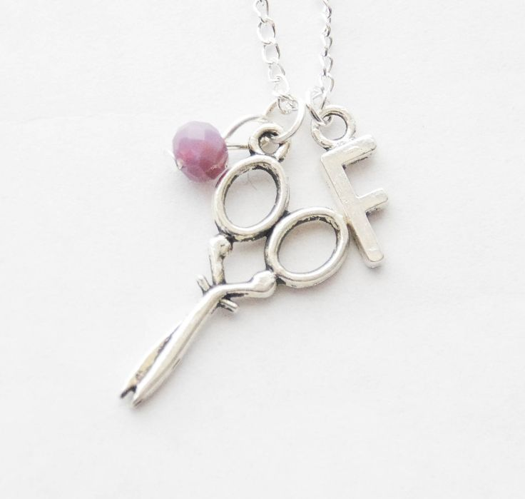 Scissors Necklace Sewing Gift Crafter Gift DIY Gift DIY Necklace Scissor Charm Jewelry Retro Sewing Scissors Necklace Birthstone Initial by SmittenKittenKendall on Etsy