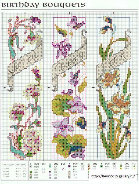 Cross-stitch Birthday Bouquets Bookmarks, part 1... (2) Gallery.ru / Foto N ° 43 - 56 - Fleur55555