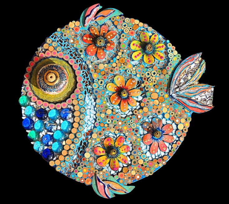 #fish ..my flower power fish in mixed media mosaic..see more on my FB page…