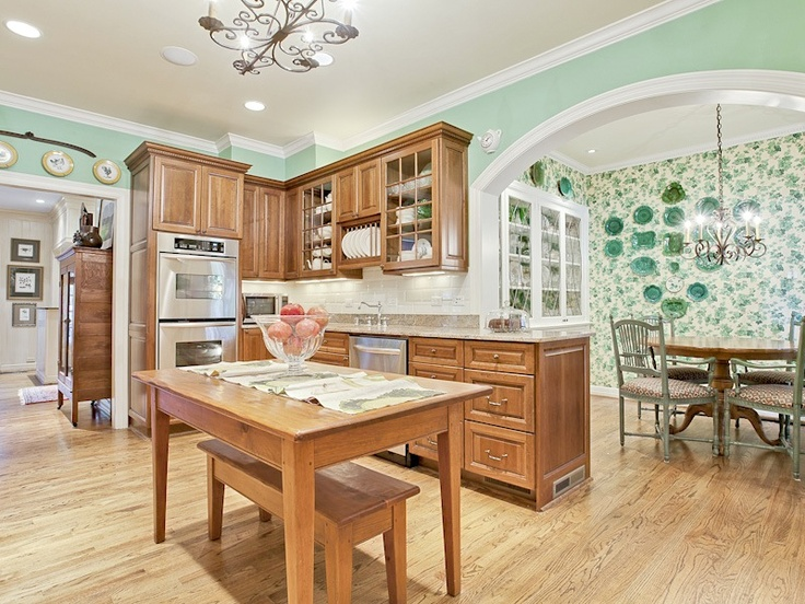seafoam green walls  kitchens  Pinterest  Oak Cabinets, Dallas and