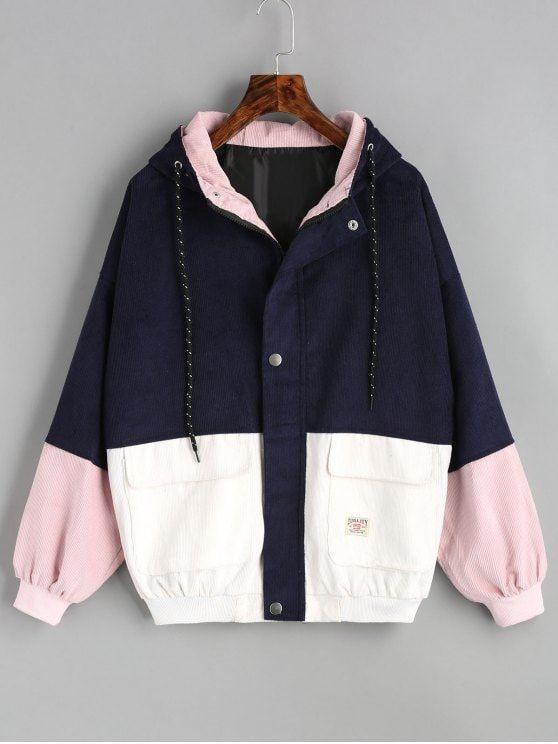Jaqueta de veludo com capa de cor com capuz - Azul Arroxeado S
