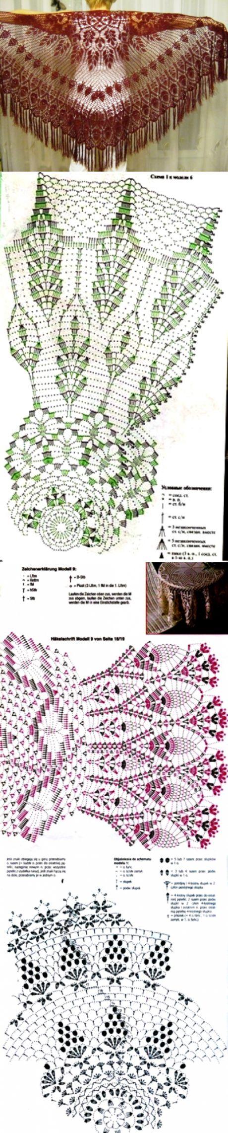 шарф косынка роскошные лепестки схема крючком