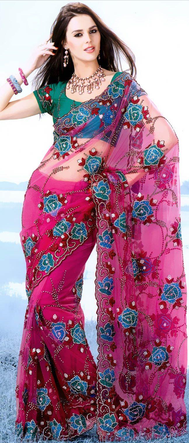 Dark #Pink Net #Saree With Blouse @ $199.87 | Shop @ http://www.utsavfashion.com/store/sarees-large.aspx?icode=ssx3631a