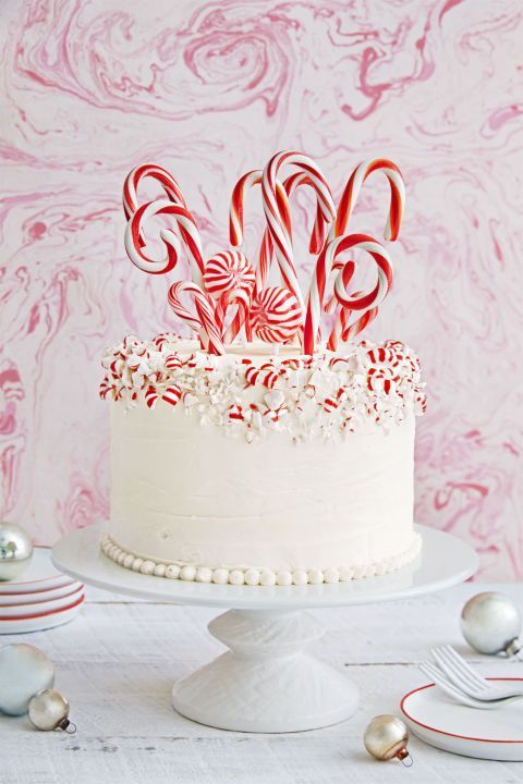 Twirl up a white cake covered with crushed peppermints and candy canes. Get the recipe.