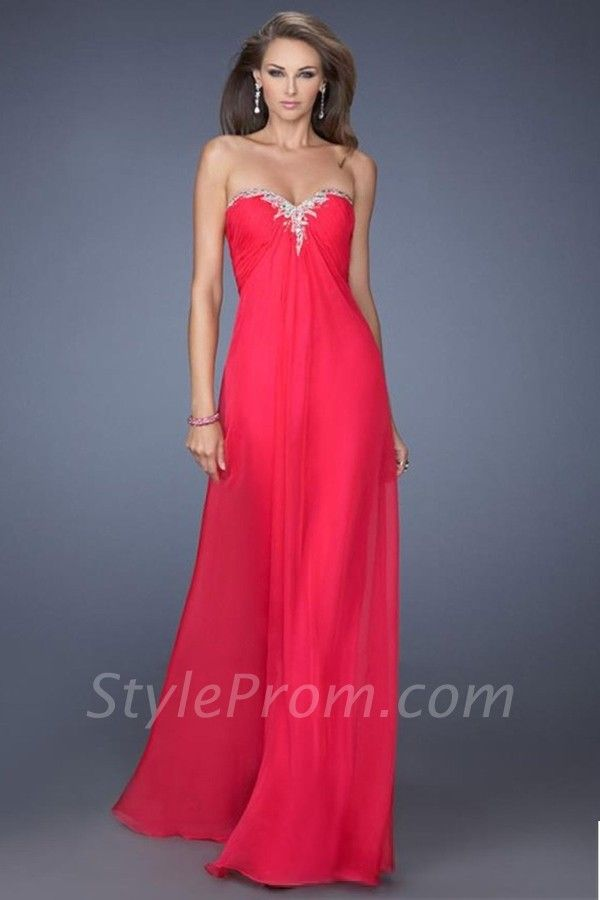 Ruched Bodice A Line Shirred Floor Length Chiffon Prom Dress