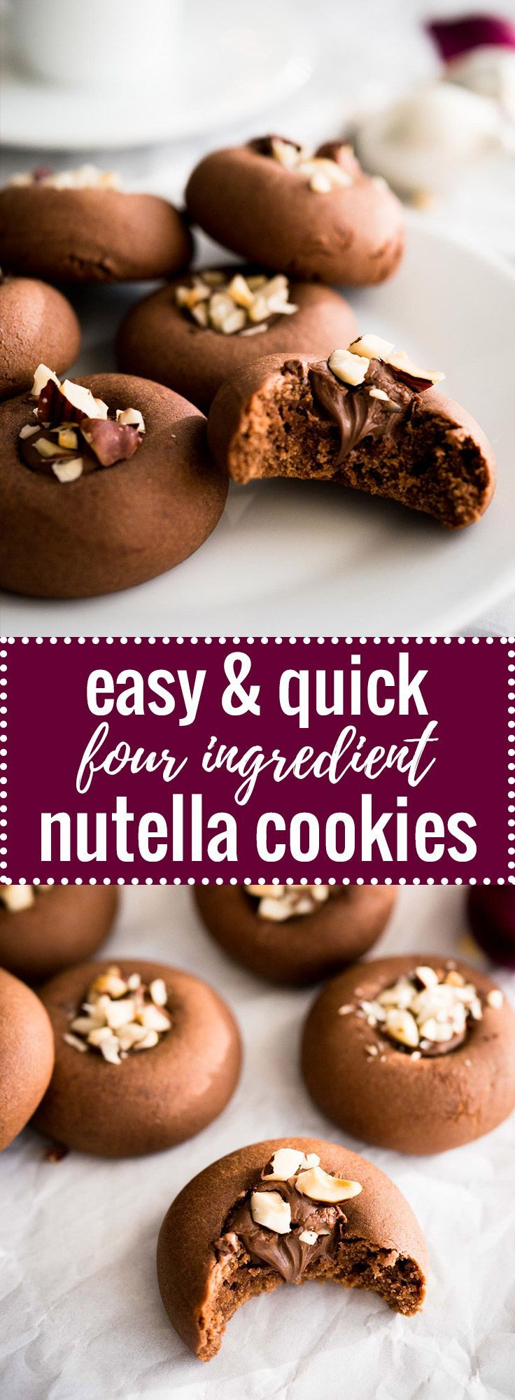 These Nutella Cookies are SO easy and quick to make! You only need FOUR ingredients to make these hazelnut spread stuffed treats. Perfect for the holidays!