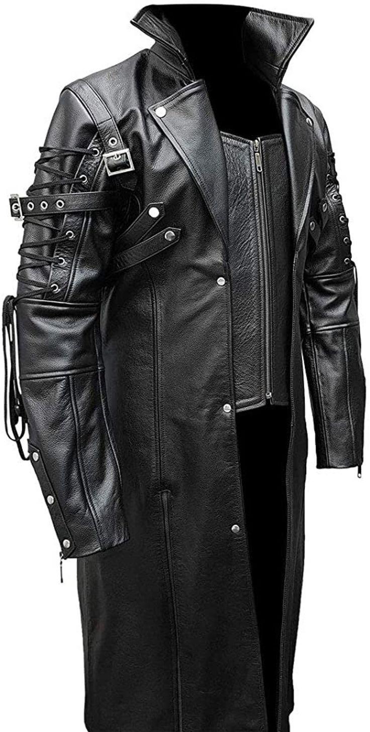 Custom made men real black leather goth matrix trench coat