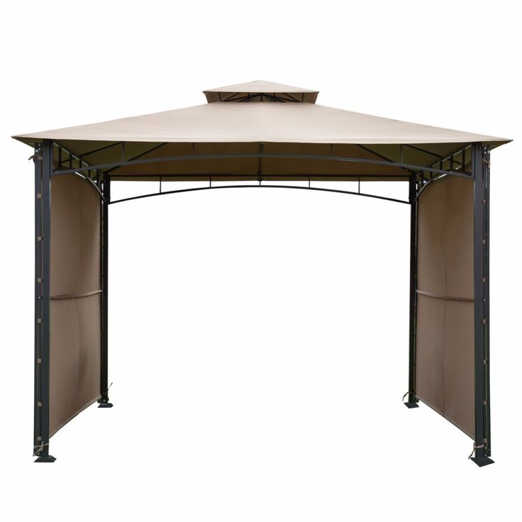Abba Patio 10x10 Ft Outdoor Gazebo With 2 Privacy Panels Beige