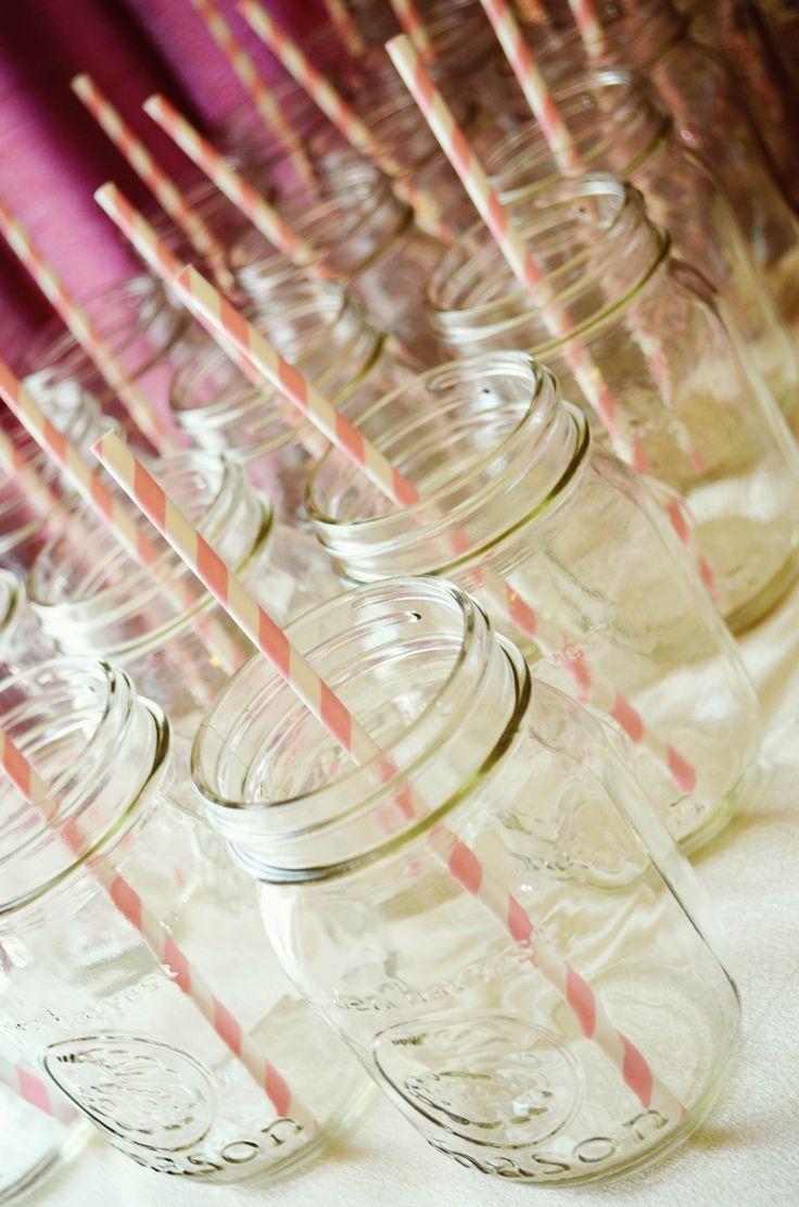Shabby chic baby shower. Mason jars with striped straws.