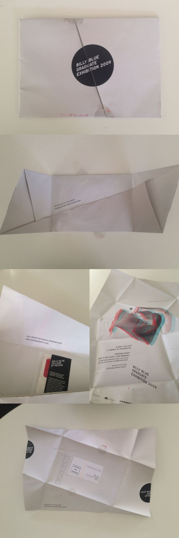 Self mailer poster invitation, fold out poster with stereoscopic illustration – Billy Blue graduates exhibition 2009