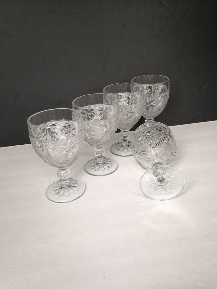 clear glass wine water goblet, vintage drinking glass housewares, Tiara clear glass goblet, dessert dish, wedding couple Christmas gift idea - pinned by pin4etsy.com
