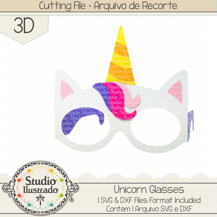 Unicorn Glasses, Unicorn, Glasses, óculos unicórnio, unicórnio, Rainbow, arco-íris, arquivo de recorte, corte regular, regular cut, svg, dxf, png, Studio Ilustrado, Silhouette, cutting file, cutting, cricut, scan n cut.