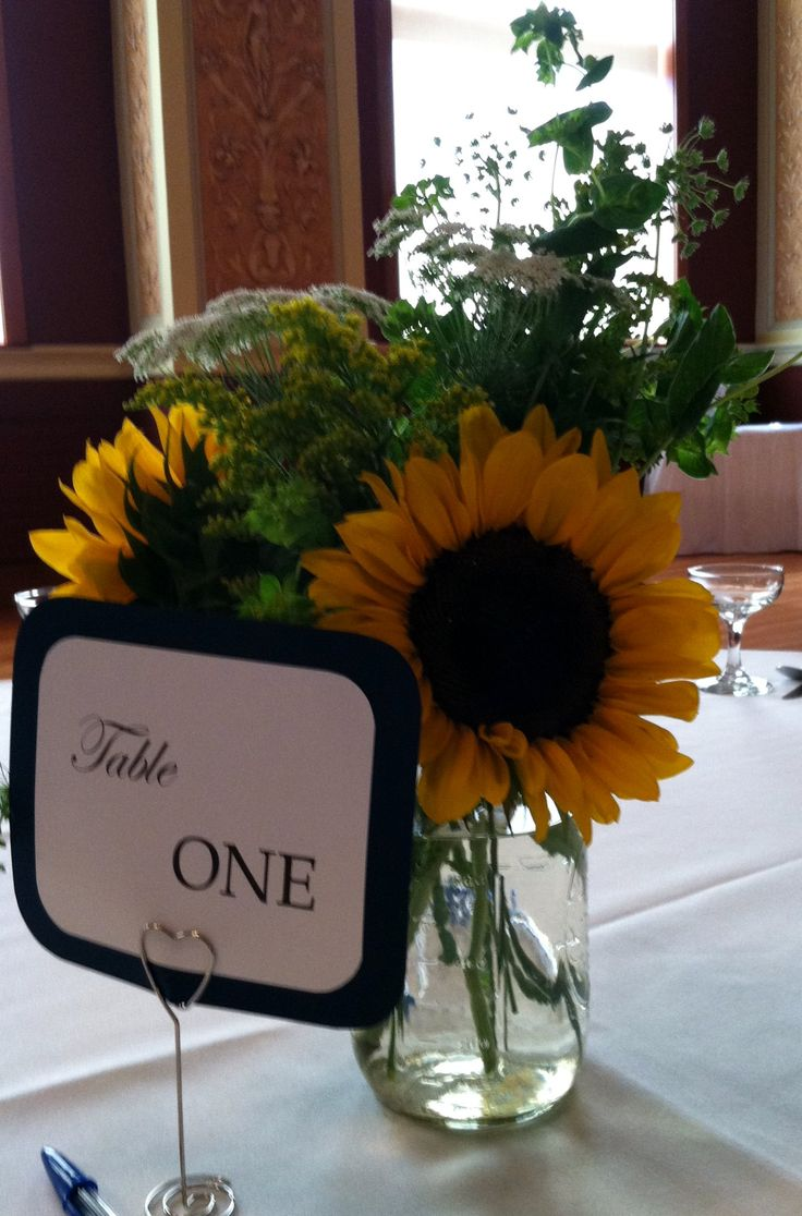 Sunflower table centerpiece summer wedding tabledecor
