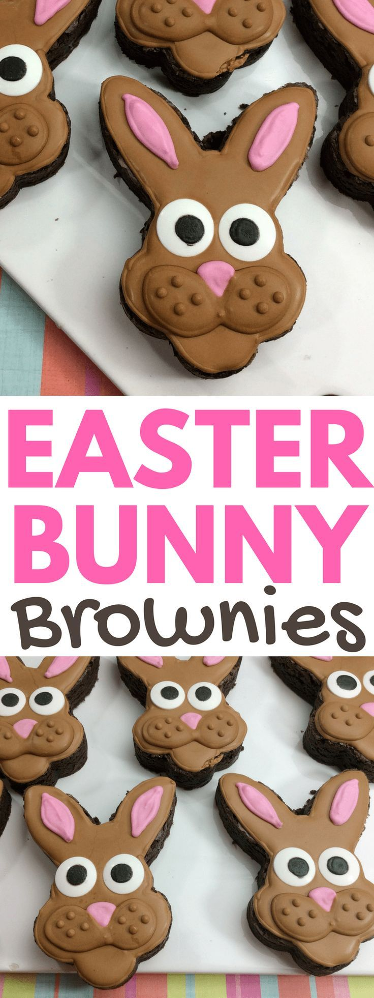 """""""The perfect Easter dessert recipe are these adorable Easter bunny brownies. Great for putting in a kids Easter basket or as a sweet treat after the Easter egg hunt. #Easter #EasterDessert #EasterRecipes #ForModernKids"""