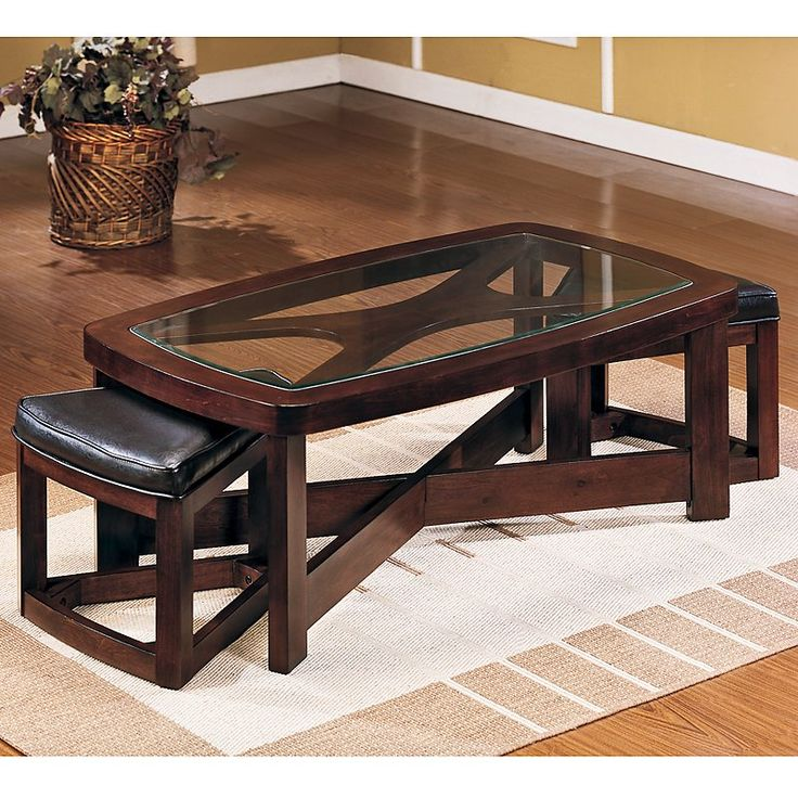 have to have it pieces rectangular coffee table with 2 ottomans. Black Bedroom Furniture Sets. Home Design Ideas
