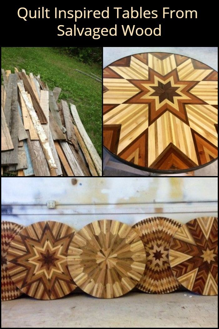 Quilt-inspired tables from salvaged wood