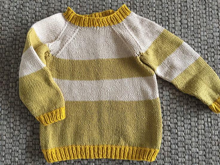 Strikket raglansweater baby - gratis opskrift