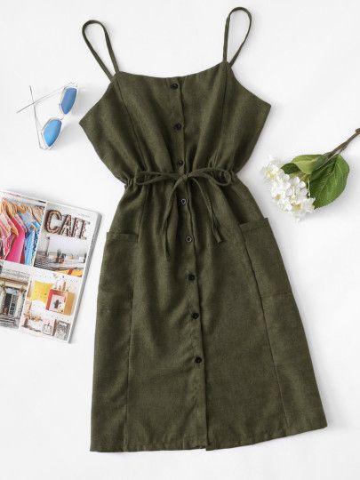 Kleid mit Einreiher, Kordelzug um die Taille und Seiten Taschen – German romwe