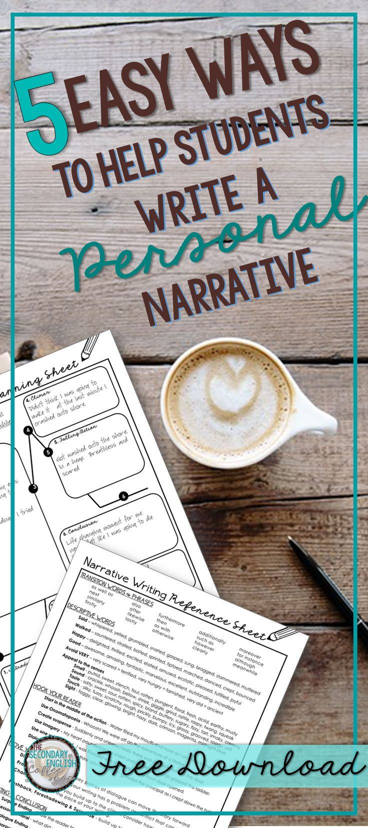 Five easy ways to help students write a Personal Narrative! Includes a free writing reference sheet and planning page for students!