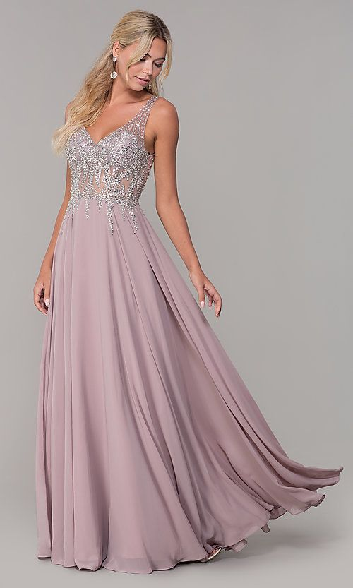 9733f1e8a5788 Image of v-neck long sleeveless prom dress with beaded bodice. Style:  DQ-2570 Front Image