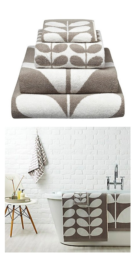 'Stem' Towels in Grey - Orla Kiely