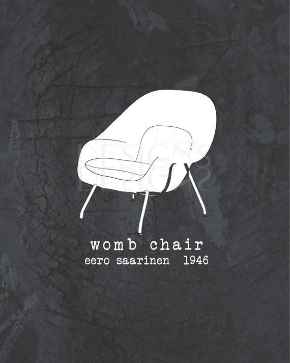 Wall Art  Womb Chair  Eero Saarinen  8 x by SusanNewberryDesigns, $20.00