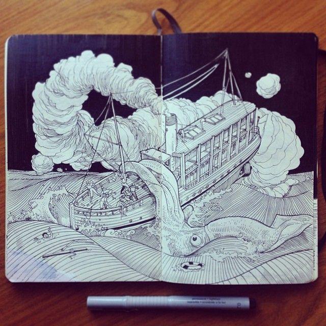 El trabajo de Jared Muralt(Berna, Suiza) está inspirado en gran parte por lo cotidiano. El cuaderno de bocetos que lleva con él en todo momento, esta lleno de fascinantes estudios de las personas, invenciones científicas y el reino animal. A través de estos bocetos primarios, Muralt toma, caricaturas energéticas, experimentos de ciencia ficción y mundos futuros que traza sobre el papel. La ilustración de Muralt es principalmente autodidacta, desarrolló su precisión y habilidad a través del…