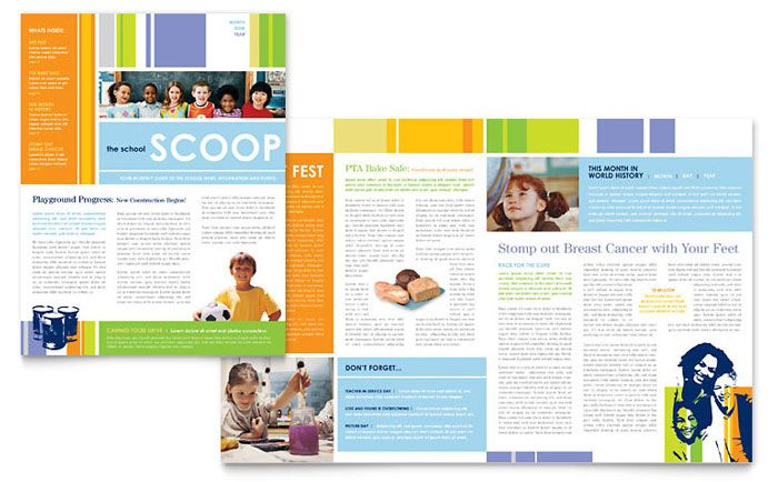 Learning Center and Elementary School Newsletter Design Template - newsletter templates free microsoft word