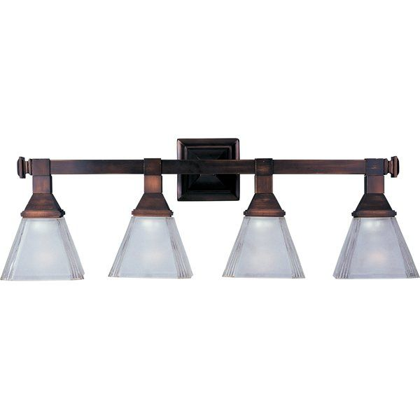 This 4 Light Vanity Light is ideal for highlighting your traditional bathroom decor. Due to its beautiful design, this vanity light can be easily included in your existing bathroom decor. It has four glass shades that face downward and flare out at the bottom. The steel frame provides support to the glass shades and makes this lighting fixture durable. This vanity light is available in numerous finishes, giving you the freedom of choice. It is UL-listed and ETL-certified, so you can safety…