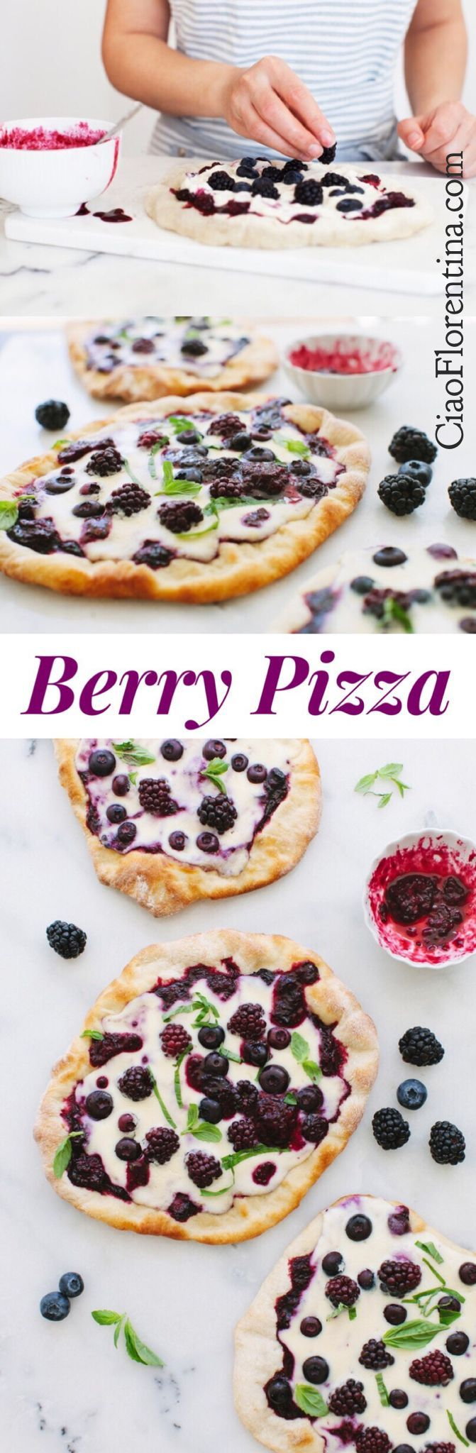 Berry Pizza with Whipped Ricotta and Mascarpone Cheese and a Blueberry Blackberry Sauce   CiaoFlorentina.com @CiaoFlorentina