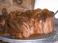 3 pound beef roast such as a chuck roast 1 envelope of dry Italian salad dressing mix 1 envelope of dry Ranch salad dressing mix 1 envelope of dry brown gravy mix 2 cups water - Yahoo Image Search Results