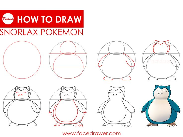 How to draw Snorlax Pokemon. Super easy step by step drawing lesson infographic about Snorlax from Pokemon. Learn how to draw this cute big lovely Snorlax Pokemon.