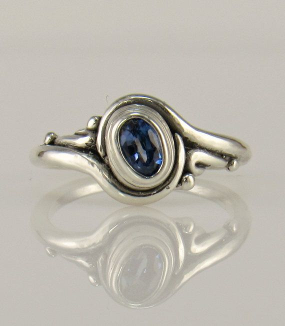 Sterling Silver Blue Sapphire Ring/ One of a Kind Ring/
