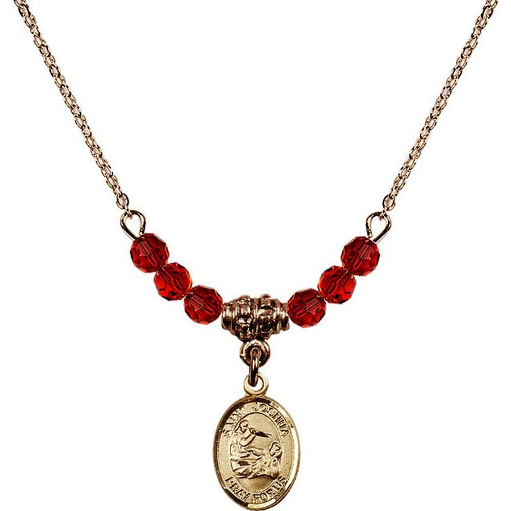 18-Inch Hamilton Gold Plated Necklace with 4mm Red July Birth Month Stone Beads and Saint Joshua Charm. 18-Inch Hamilton Gold Plated Necklace with 4mm Ruby Birthstone Beads and Saint Joshua Charm. Red represents Ruby, the Birthstone for July. Hand-Made in Rhode Island. Lifetime guarantee against tarnish and damage. Hamilton gold is a special alloy designed to have a rich and deep gold color.