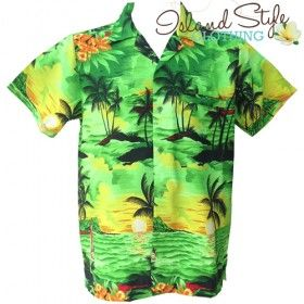 Green Sunset - Vintage Tropical Print for big boys. Mens Hawaiian Shirts - Plus Sizes 4XL-12XL. Hawaiian Fancy Dress Costume.