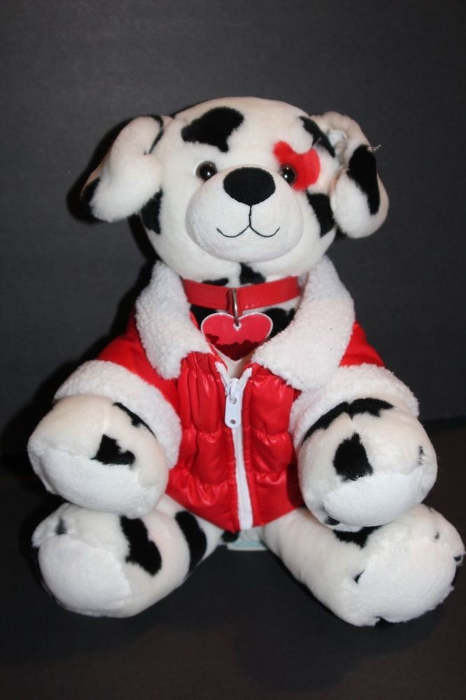 Build a Bear Plush Dog White Valentine Dalmation Heart Collar and Puffer Vest #BuildaBear #ValentinesDay