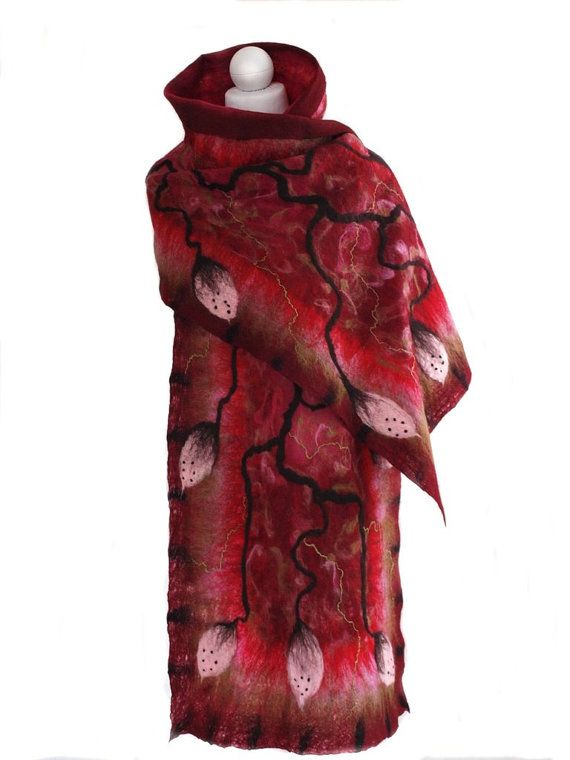 Nuno felted scarf burgundy unique handmade by ArtMode on Etsy