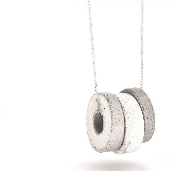 Best 25 long silver necklace ideas on pinterest silver bar long silver necklace circles pendants gray and white concrete pendants statement necklace aloadofball Image collections