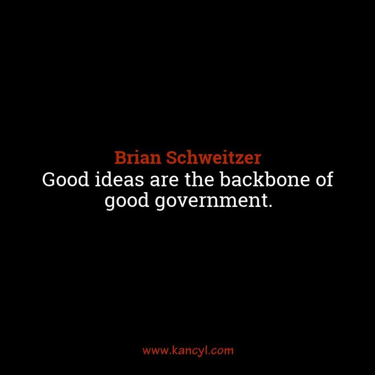 """Good ideas are the backbone of good government."", Brian Schweitzer"