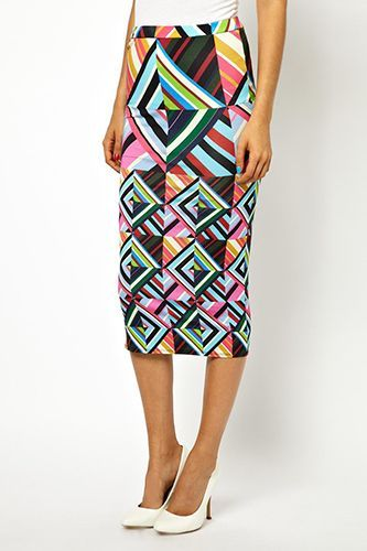 House of Holland tube skirt in patchwork print