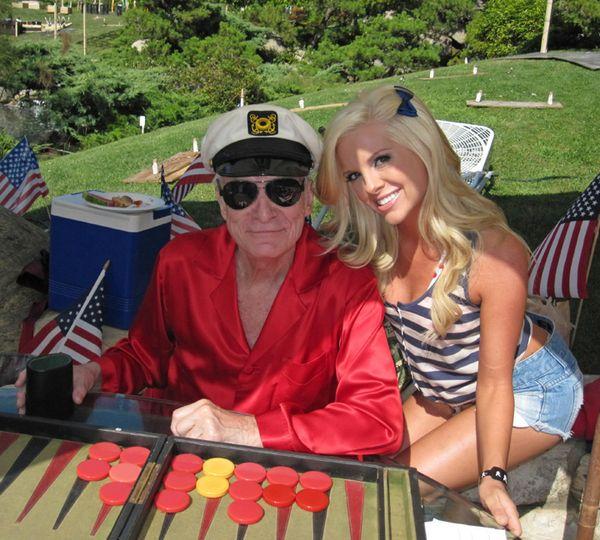 Hef & Kayla Collins playing backgammon
