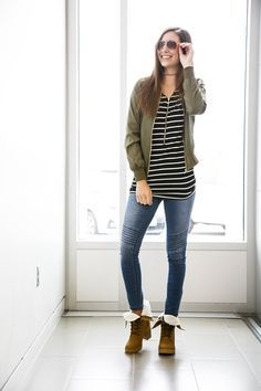 This outfit is everything! Cute boots, bomber jacket, sunglasses, t-shirt and choker- wrap it all up for me! #gordmans