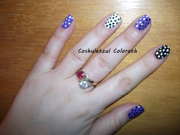 black and white dots, purple nails