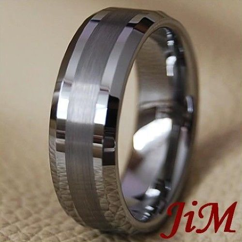 Tungsten Carbide Wedding Band Mens Ring Titanuim Color Bridal Jewelry Size 6-15 #JiM #Band