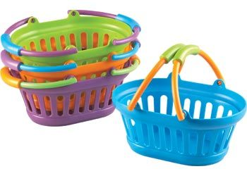 Shopping Baskets. This is a colourful and durable set of 4 plastic, shopping baskets. These shopping baskets are an excellent resource for role play and dramatic play.