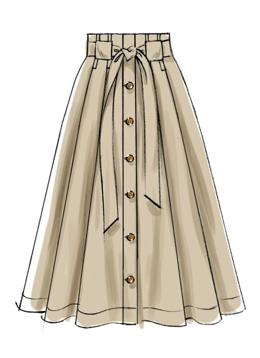 M7906 Misses' Belted and Button-Entrance Skirts Very full pleated skirts are worn 2…