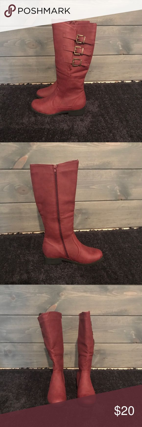 NWOT Red Boots Brand new red zip up boots with  decorative buckles on the side. Have a purple/maroon tint. Never worn. Just didn't fit. I ❤️ offers! Shoes