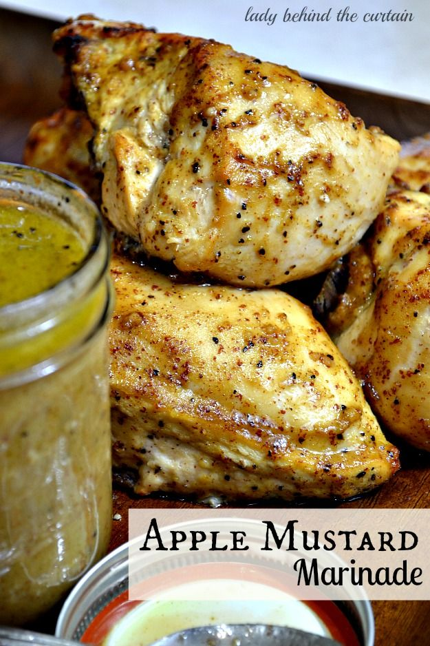 Apple Mustard Marinade Chicken This apple mustard marinade is an easy way to add extra flavor to meat.  Perfect for a weeknight meal.