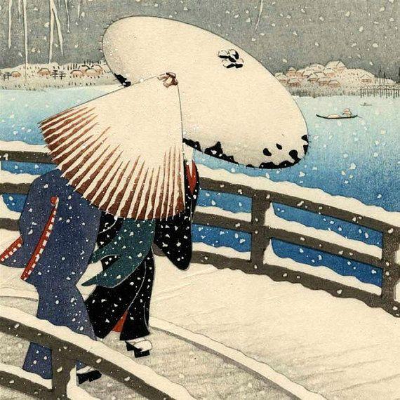 Japanese Winter Scene Counted Cross Stitch Pattern / Chart, Ohara Koson, Japanese Fine Art, Instant Download (ABA051)