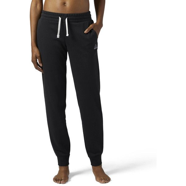 Reebok Elements French Terry Sweatpant ($40) ❤ liked on Polyvore featuring activewear, activewear pants, apparel, black, reebok activewear, french terry sweatpants, reebok, tapered sweatpants and drawstring sweatpants